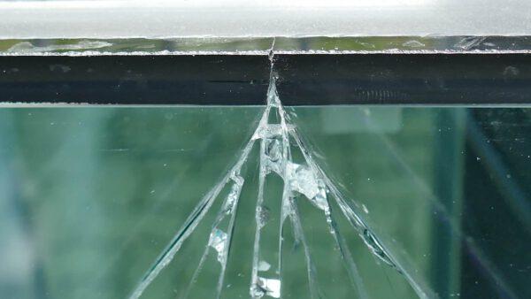 Detail-Ansicht thermischer Glasbruch